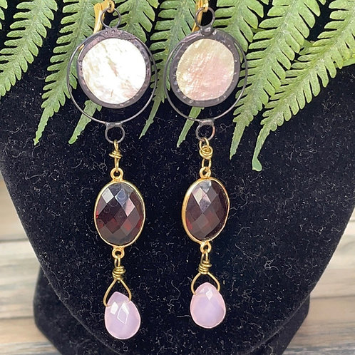 Adorned Crown Shell stone briolette earrings