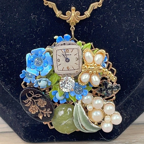 Green teal Flower time Assemblage cluster necklace green