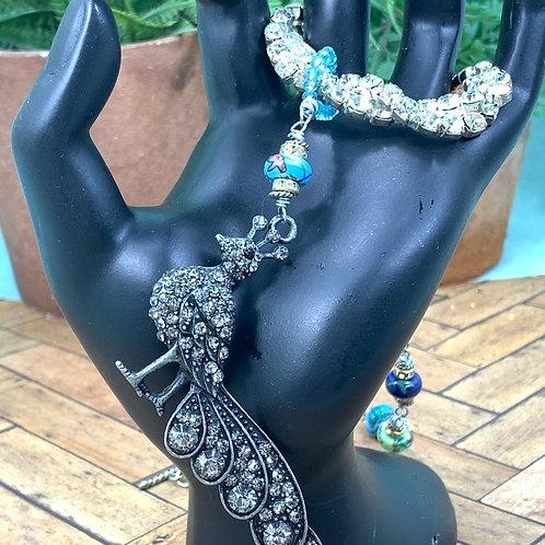 Blue Proud peacock rhinestone necklace