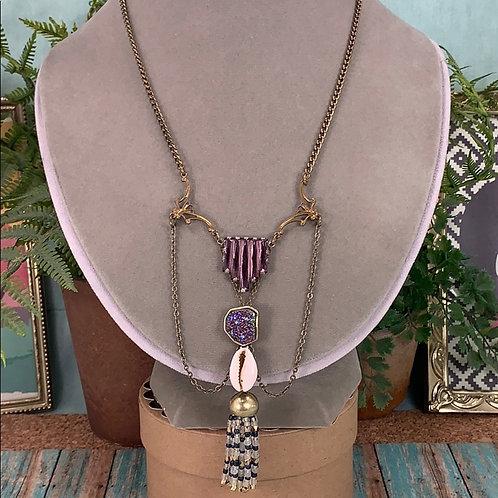 Purple Dizzy druzy amethyst tassel necklace