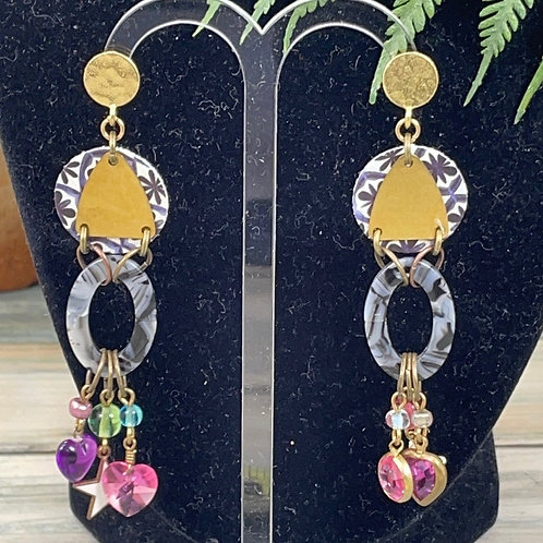 Pink Eclectic acrylic leather moon Star earrings