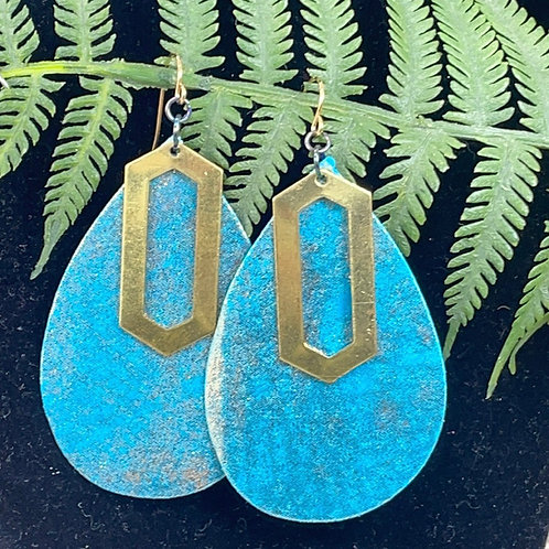Teal Trendy leather & brass statement earrings