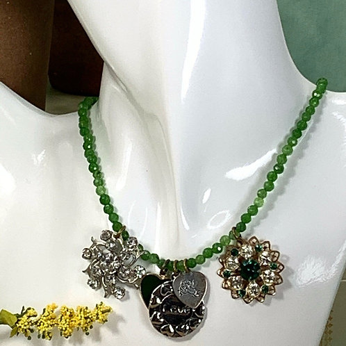 Vintage Green Love Charm Necklace