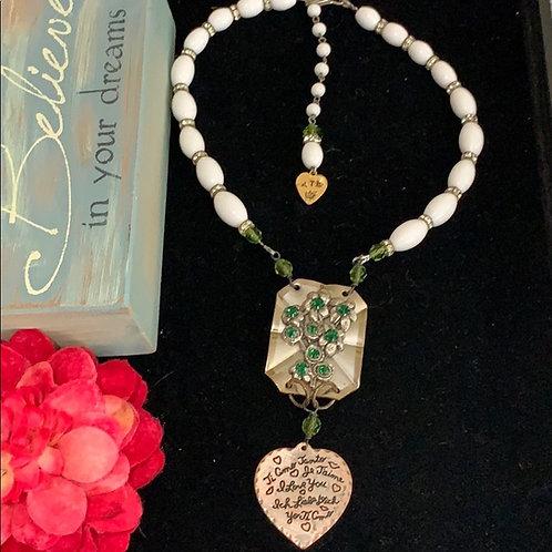 Green Je Taime I love you rhinestone necklace