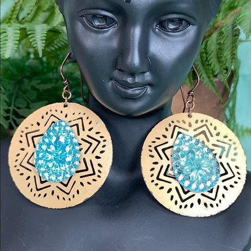 Teal Vintage Czech glass boho circle earrings