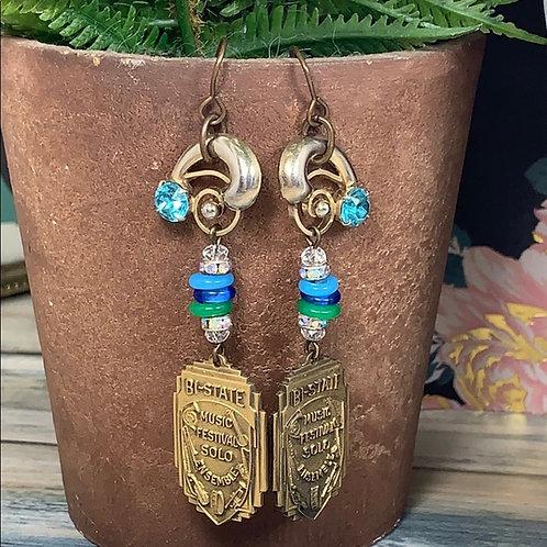 Green blue Beautiful music medal assembled earrings