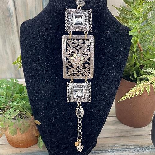 Adorned Crown soldier rhinestone bar bracelet