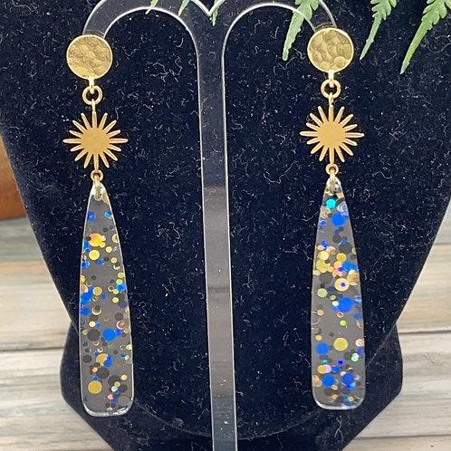 Blue Burst acrylic spike post earrings