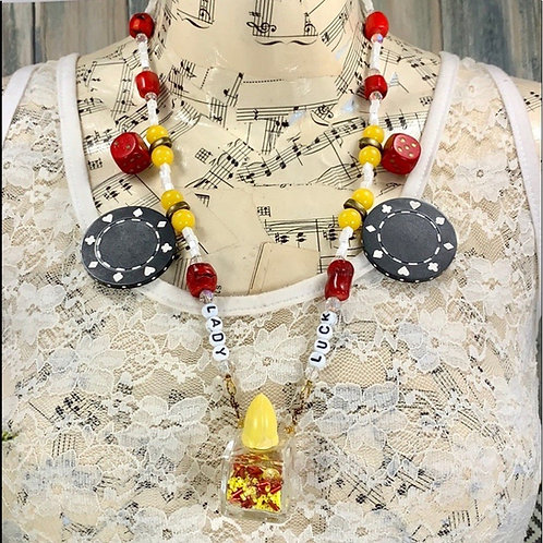 Lady Luck red yellow game necklace