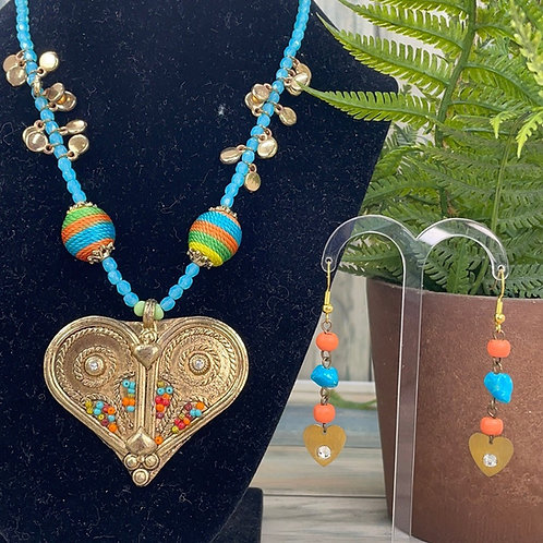 Adorned Crown Moroccan love necklace & earring set