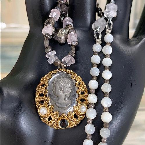 Pink Hematite carved cameo quartz necklace