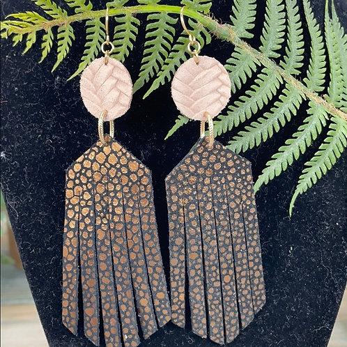 Pink Bit of fringe leather statement earrings