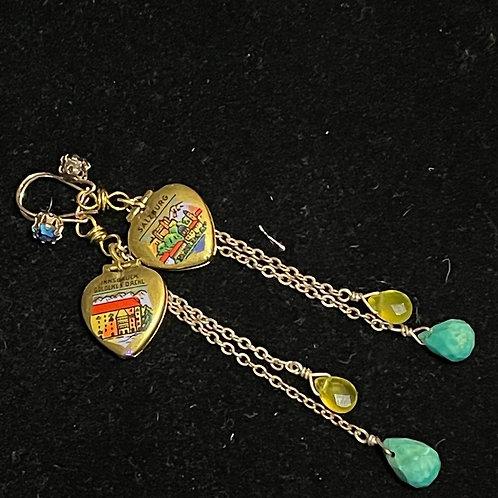 Green yellow German locket heart stone earrings