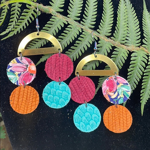 Multicolored Trendy rainbow leather disc & brass earrings