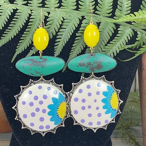 Green yellow Vintage flower large painted earrings