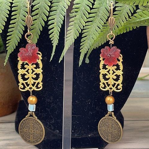 Adorned Crown assemblage red flower medal earrings