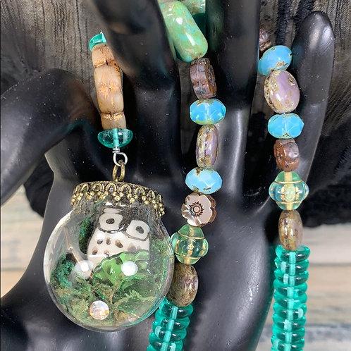 Green Woodland Owl glass globe necklace