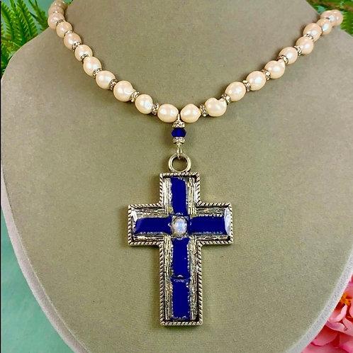 Blue Lapis cross faux pearl rhinestone necklace