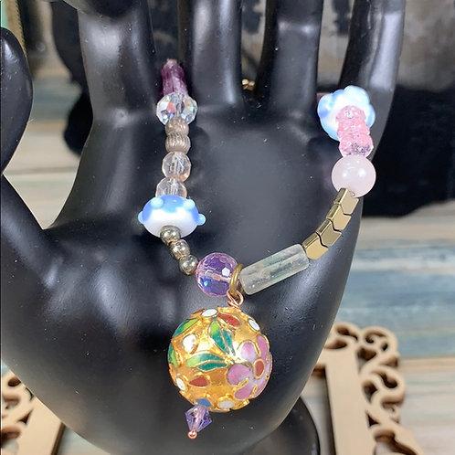 Pink purple Vintage cloisonné floral pink blue bracelet