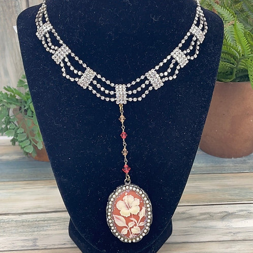 Orange red Carved floral assemblage rhinestone Y necklace