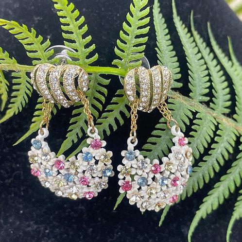 Pink white Pastel rhinestone heart post earrings