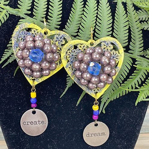 Yellow Statement sparkle heart create dream earrings