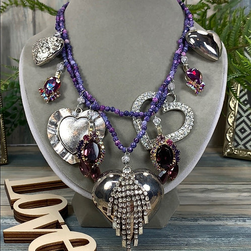 Purple Heart charms 2 strand necklace