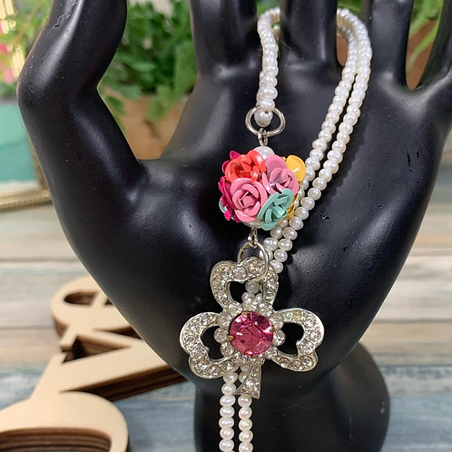 Pink Feeling lucky pearl rhinestone clover necklace