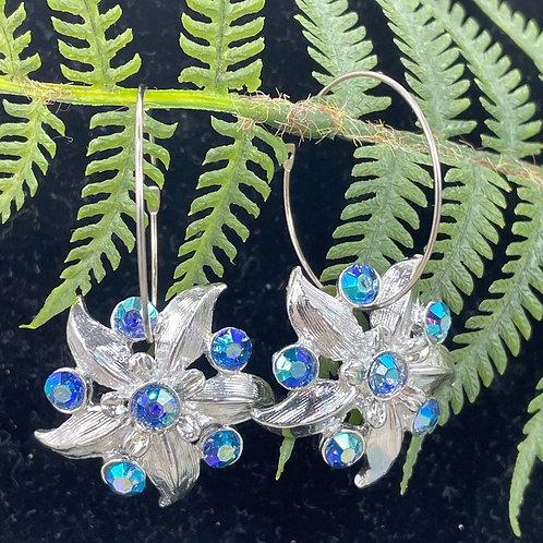 Blue New Life rhinestone flower hoop earrings
