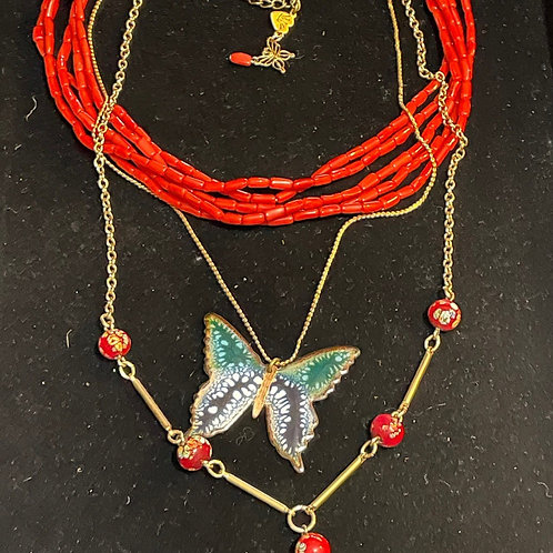 Red Vintage enamle butterfly coral & tassel necklace