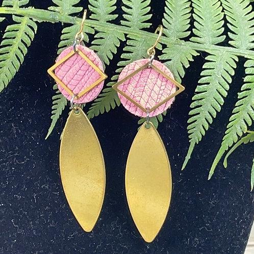 Pink Trendy leather disc brass drop earrings