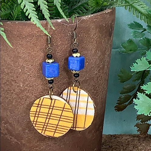 Yellow vintage fabric disc earrings