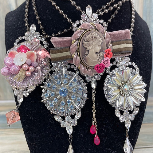 Assemblage rhinestone cluster necklace (chose 1