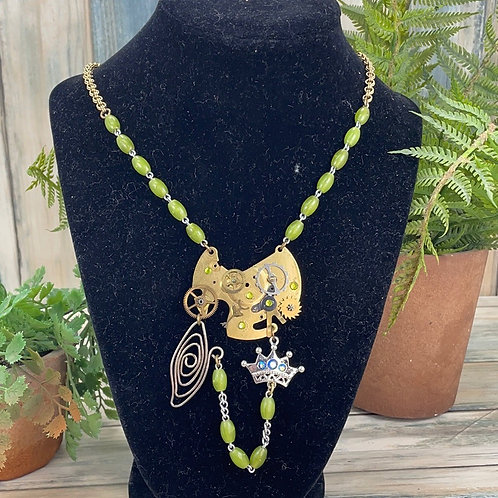 Adorned Crown steampunk time traveler necklace