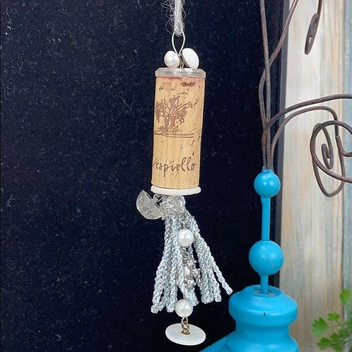 Silver assemblage wine cork ornament