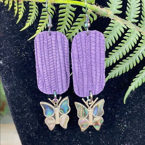 Purple Vintage Mexico silver abalone shell butterfly leather earrings