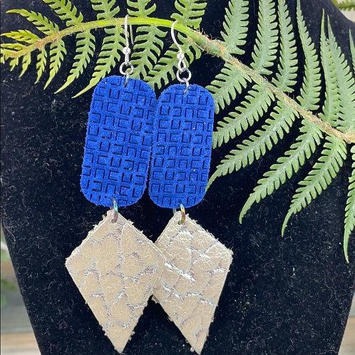 Blue Geometric statement leather earrings