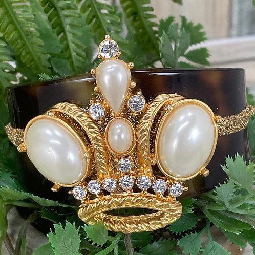 Queen's crown tortoise shell cuff bracelet