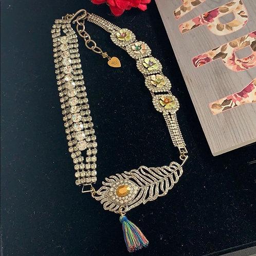 Boho rhinestone feather tassel necklace