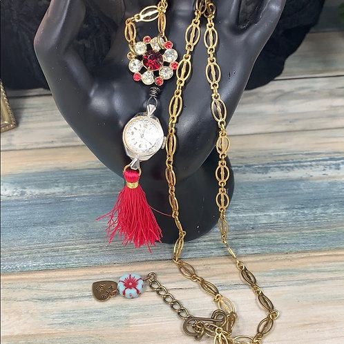 A time to watch pink tassel necklace