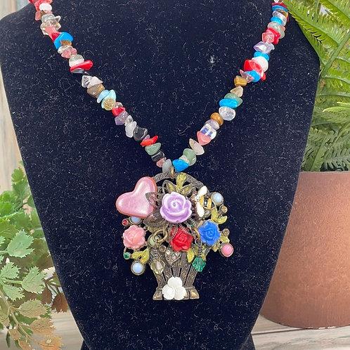 Adorned Crown assemblage flower basket necklace