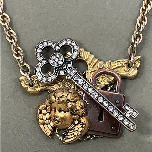 Heaven's Gatekeeper assemblage angel key lock necklace