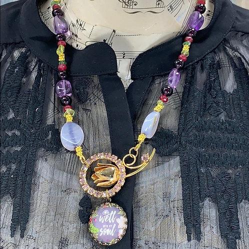 Purple green It is Well With amethyst peridot gem My Soul necklace
