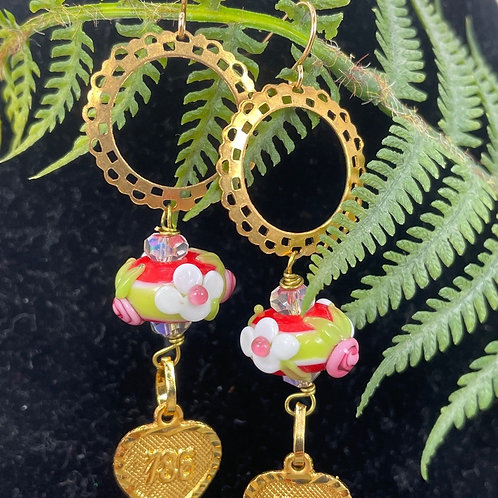 Red Floral art glass bead French earrings