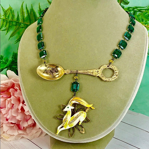 Green Dancing Deer Christmas spoon necklace