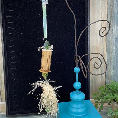 Green assemblage wine cork ornament grn