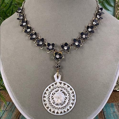 Black Boho carved shell flower statement necklace
