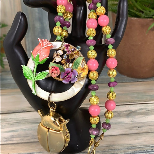 Pink Flutter by lady bug floral beaded necklace