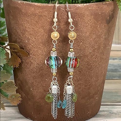 Teal Gemstone & glass bead tassel earrings