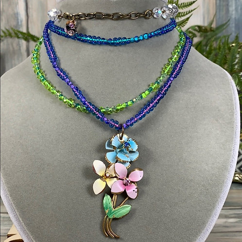 Multicolored Tears water the flowers glass bead necklace